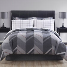 Shady Chevron Grey Red Universal 8PC Comforter Set w/Sheets Full King Queen Twin