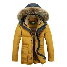 Mens Winter Parka padded Jacket Warm fur hooded Outwear Coat Down overcoat