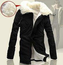 Mens winter thick Coat Fur Lined Hooded Parka Cotton long Jacket outerwear