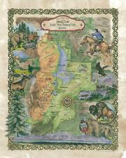157 Hiking trail Grand Teton vintage historic antique map painting poster print