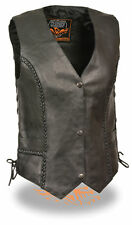 Women's Braided Side Lace Naked Leather Motorcycle Biker Vest (ML1255)
