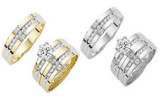 His & Her 10K Solid Yellow White Gold CZ Wedding Ring Band Set Size 5-13