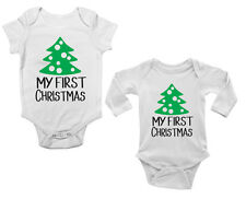 My First Christmas Cute Boys and Girls Baby Vest Bodysuit Short & Long Sleeve