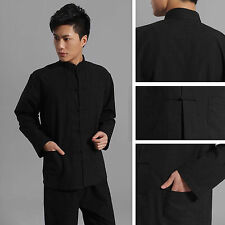Traditional Chinese style Jackie Chan Black Kung Fu Suit Tai Chi Shirt Jacket