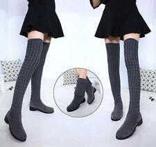 Womens Flat Skinny Stretchy Knitted Long Stylish Over The Knee Boots chunky heel