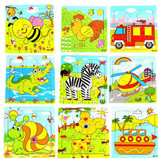 Children Cartoon Puzzle Blocks Colorful Educational Wooden Kids Toy Gift