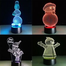 3D Night Light Lamp Acrylic Colorful Merry Christmas Snowman Gift Home Decor