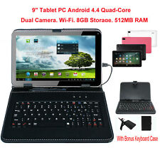 """9"""" Android 4.4 Tablet PC Quad Core HD 8GB Wi-Fi Dual Camera With Keyboard"""
