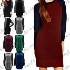 Ladies Chunky Knitted Oversized Contrast Sleeve Womens Sweater Jumper Top Dress