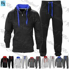 Mens Essentials Colored Drawstrings Fleece Tracksuit Hoody Jogging Bottom Set