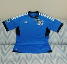 San Jose Earthquakes Soccer Jersey Adidas MLS Blue Style X30399 Size Large NEW