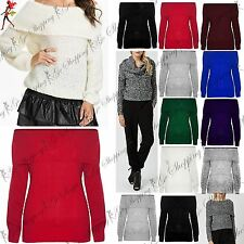 Ladies Off The Shoulder Bardot Chunky Knit Frill Womens Oversize Sweater Jumper