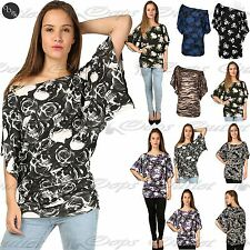Womens Off Shoulder Floral Print Ladies Batwing Bardot Side Ruched Top Plus Size