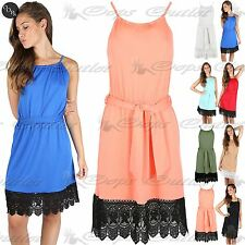Womens Ladies Halter Neck Key Hole Back Lace Trim Hem Belted Mini Skater Dress