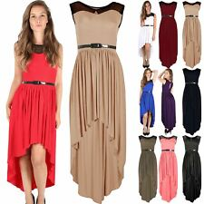 Womens Ladies Lace Mesh Keyhole Back High Low Dip Hem Belted Maxi Midaxi Dress
