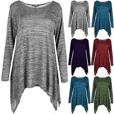 Ladies Hanky Hem Swing Flared Knitted Jumper Womens Oversized Baggy Tunic Top