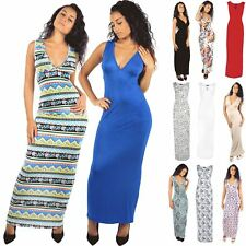 Womens Aztec Leafy Printed Sleeveless Plunge Ladies Long Ruched Maxi Top Dress