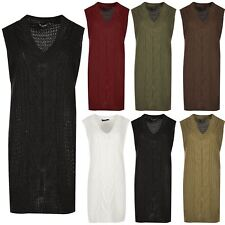 Ladies V Neck Sleeveless Knitwear Womens Loose Baggy Jumper Dress Pullover