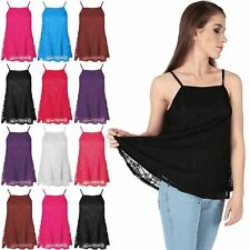 Womens Ladies Full Floral Lace Cami High Neck Strappy Swing Vest Tank Dress Top