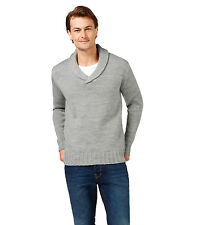 WoolOvers Mens Pure Wool Chunky Shawl Collar Long Sleeve Knitted Sweater Top