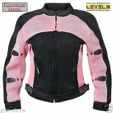 Xelement 508 Womens Pink Black Lightweight Sports Armored Motorcycle Jacket