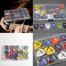 100pcs Acoustic Electric Guitar Picks Plectrum Various 6 thickness + Pick Box IC