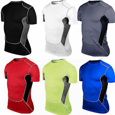 Mens Sports Compression Under Base Layer T-Shirt GYM Athletic Fitness Tops Tee