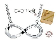 Infinity Jewelry Set Necklace Earrings Real 925 Silver Endless Love Gift