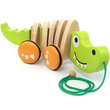 "11.4"" Cute Wooden Toy Pull Crocodile Toddler Wood Puppy Dog Toys Walk Along"