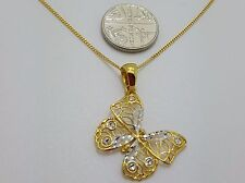 Solid  Yellow & White 9ct Gold Italian Filigree Butterfly Pendant *New with tag*