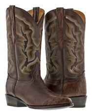 mens chocolate brown real ostrich skin leather cowboy boots wing tip 3 piece j