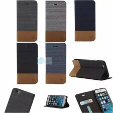 CANVAS Leather Flip Card Hold Rugged Wallet Stand Case Cover For Apple iPhone