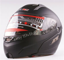 Matte Black Modular Motorcycle Full Open Face Sun Shield  Helmet Visors Flip Up