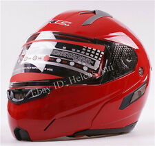Fashion Red Modular Motorcycle Full Open Face Sun Shield  Helmet Visors Flip Up