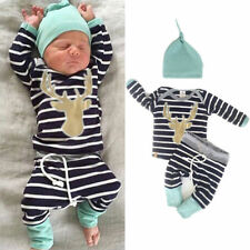 3Pcs Newborn Baby Boy Girl Christmas Clothes Long Sleeve Tops + Pants Outfit Set