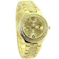 Geneva Fashion style watch for women with rhinestones gold tone - 3