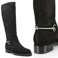 sz 39 NEW $1295 GUCCI Black SUSAN Suede Leather HORSEBIT TALL RIDING FLAT BOOTS