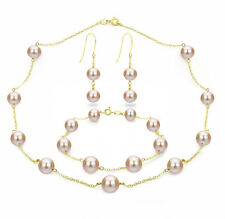 DaVonna 18k Gold over Silver Tin Cup 8-9mm Freshwater Pearl 3-Piece Jewelry Set