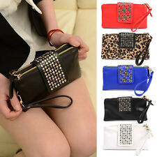 Women Leather Rivet Stud Wallet Card Coin Purse Clutch Wristlet Zip Evening Bag