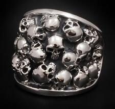 26g HUGE HEAVY GOTHIC BIKER MULTI SKULL 925 STERLING SOLID SILVER MENS RING