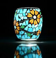 Handmade Mosaic Tealight Candle Holder Flower Style Home Party Decor, Set of 2