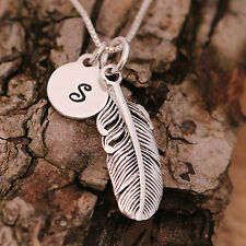 925 Sterling Silver Personalised Antiqued Feather Pendant Necklace + Initial Tag