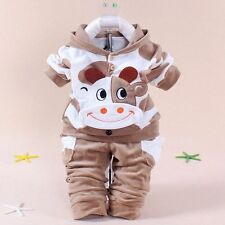 2pcs Newborn Baby Boys Outfits Winter Fleece Coat Long Pants Sports Clothes Set