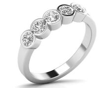 0.50ct Bezel Set Round Brilliant Cut Diamond Half Eternity Wedding Ring,18K Gold