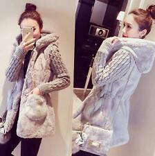 Womens Long Loose Coat faux Fur Slim Fit Thicken Jacket Korean hooded overcoat