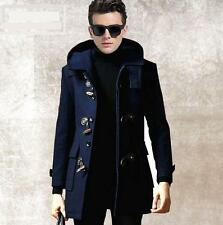 Mens wool duffel coat parka hooded england trench slim fit outerwear warm jacket