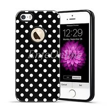 Hard TPU Soft Rubber Polka-dot Shockproof Black Case Cover For Apple iPhone 5 5S