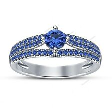 Latest Fashion Blue Sapphire 14k White Gold Plated 3 Row Special  Wedding Ring