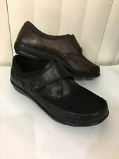 Berries By Aetrex Emma Monk Strap Black/Brown Leather/Textile Shoes Wide With!!!