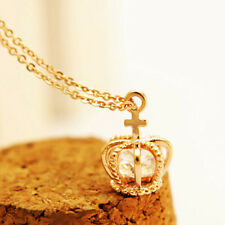 Women Shining Crown Zircon Silver Gold Plated Pendant Chain Clavicle Necklace